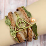 Womens Vintage Anchors Harry Potter Leather Multilayer Bracelets - Nonpareil Jewelry  - 15
