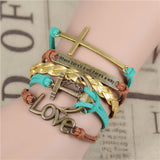 Womens Vintage Anchors Harry Potter Leather Multilayer Bracelets - Nonpareil Jewelry  - 4