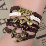 Womens Vintage Anchors Harry Potter Leather Multilayer Bracelets - Nonpareil Jewelry  - 7