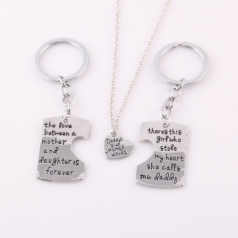 'Always Together' Family Pendant Keychain Set
