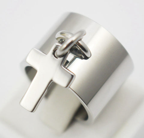 Unique Design Titanium Steel Cross Pendant Ring - Nonpareil Jewelry  - 1