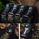 5 in 1 Paracord Survival Bracelet Including; Rope, Compass, Flint, Fire Starter Scraper, Whistle - Nonpareil Jewelry  - 1