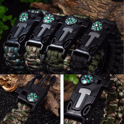 FREE 5 in 1 Paracord Survival Bracelet Including; Rope, Compass, Flint, Fire Starter Scraper, Whistle - Nonpareil Jewelry  - 1