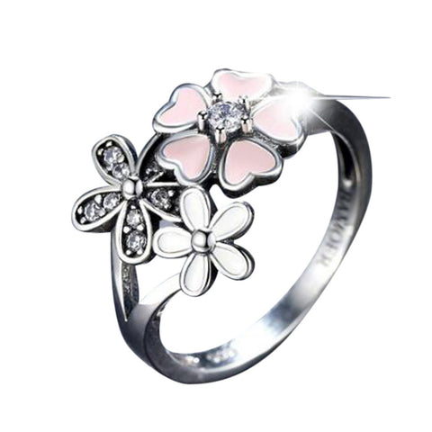 Oil drop cherry red enamel ring heart-shaped pollen Cherry Blossom Pink Enamel Heart Floral Finger Ring Size 6-9 #py30