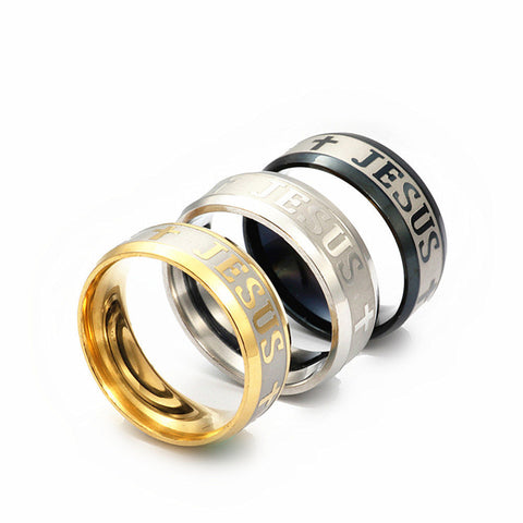 High Quality Large Size 8mm Titanium, Steel, 18K Silver Gold Plated Jesus Ring - Nonpareil Jewelry  - 1