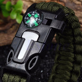 5 in 1 Paracord Survival Bracelet Including; Rope, Compass, Flint, Fire Starter Scraper, Whistle - Nonpareil Jewelry  - 5