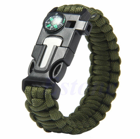 5 in 1 Paracord Survival Bracelet Including; Rope, Compass, Flint, Fire Starter Scraper, Whistle - Nonpareil Jewelry  - 2