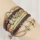 FREE SHIPPING! Fashion Vintage Infinity Anchor Hook Artificial leather Leather Bracelet - Nonpareil Jewelry  - 2