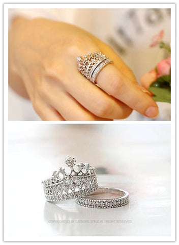 Top quality Crystal Imperial Crown Finger Ring Set For Women - Nonpareil Jewelry