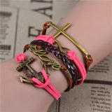FREE SHIPPING! Fashion Vintage Infinity Anchor Hook Artificial leather Leather Bracelet - Nonpareil Jewelry  - 14