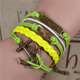 FREE SHIPPING! Fashion Vintage Infinity Anchor Hook Artificial leather Leather Bracelet - Nonpareil Jewelry  - 5