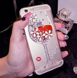 Red Wine Cup Diamond Dynamic Liquid Transparent bling Case For iPhone