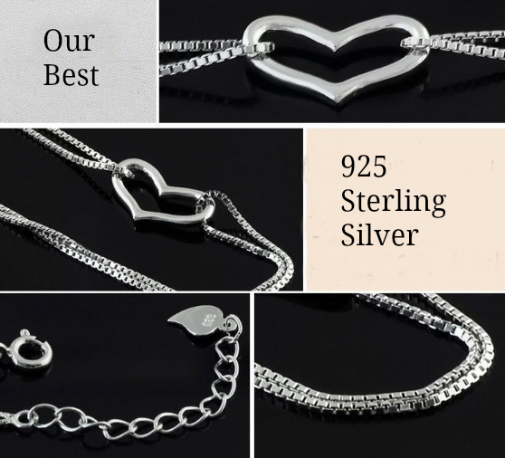 "Gorgeous Sterling Silver HEART LOVE Bracelet Silver Chain "" FREE SHIPPING"" - More Stuff I Like"