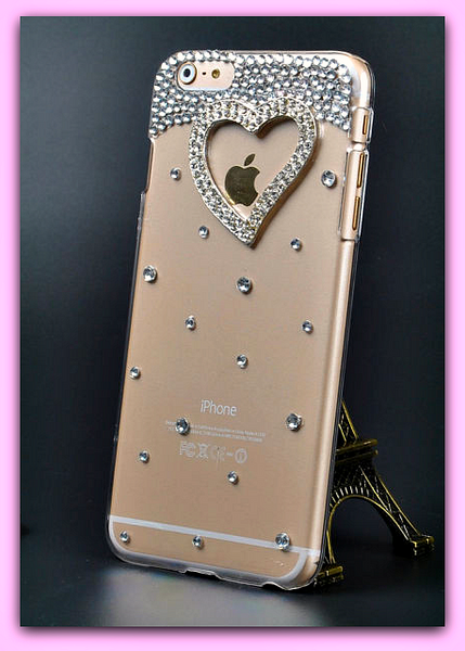 "Heart iPhone 6 , 6s 4.7"" Plus 5.5"" Bling Crystal Diamond Transparent Hard Case Cover FREE SHIPPING - More Stuff I Like"
