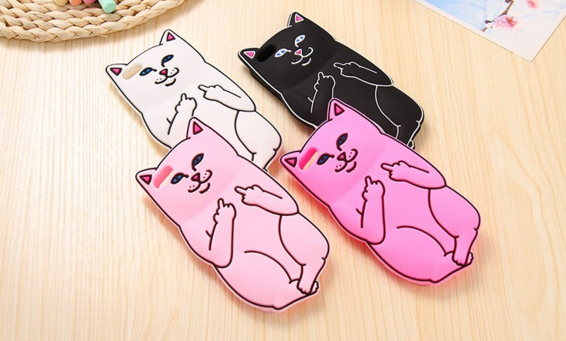 5 Middle Finger Silicone Cartoon Cat Soft Case For IPhone 6 6S 6s Plus