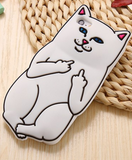Middle Finger Silicone Cartoon Cat Soft Case For iPhone 6 6S , 6s Plus , 5 5s