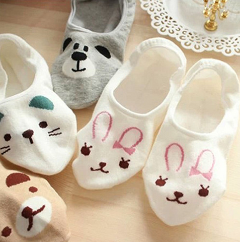 "Women Invisible Cotton Socks No Show Nonslip Loafer Liner Low Cut Cartoon Animal "" FREE SHIPPING """