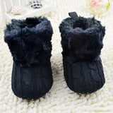 Infant Baby Crochet/Knit Fur Boots Booties Toddler Winter Snow Crib Shoes