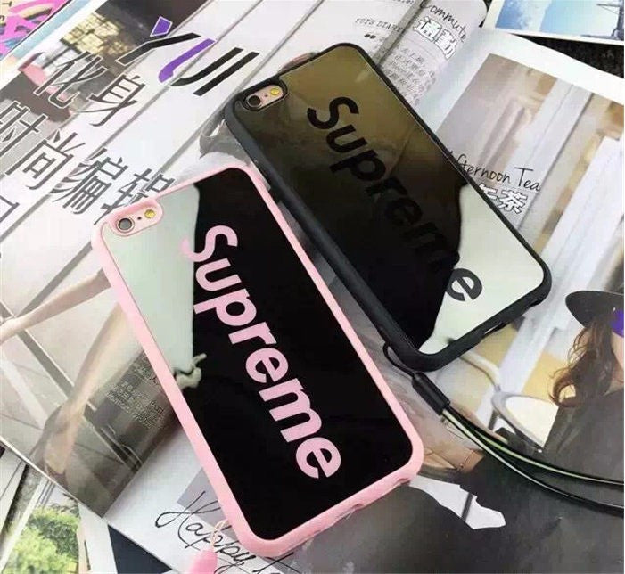 new style e4cdf cbc26 Supreme Skateboard Mirror Back Case for iPhone Pink or Black