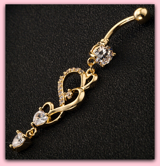 Heart Design Gold Dangle Belly Button Ring Hot Body Jewelry