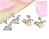 Gold and Silver Plated Crystal Leave Stud Earrings