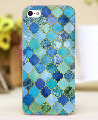 "Cobalt Blue Aqua & Gold Decorative Moroccan Tile Pattern Design iPhone Hard Shell Case for 4 4s 5 5c 5s 6 6s 6s Plus ""FREE SHIPPING "" - More Stuff I Like"