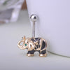 Elephant White Enamel Belly Button Rings