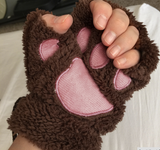 "Woman Fluffy Bear/Cat Plush Paw/Claw Glove-Novelty soft toweling lady's half covered gloves mittens "" FREE SHIPPING """