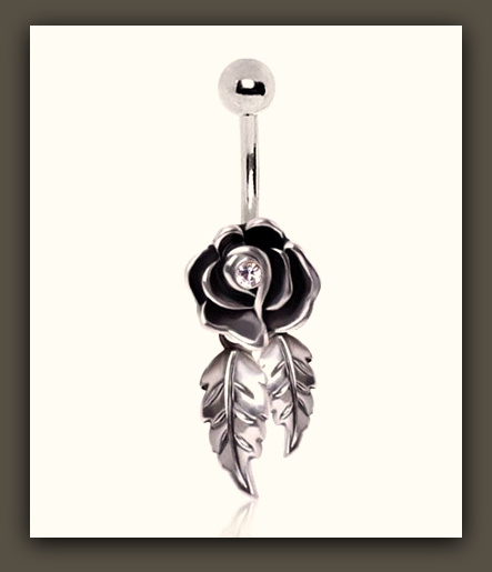 "Cutie Rose with Dangling Leaves 316L Surgical Steel Belly Button Ring "" FREE SHIPPING "" - More Stuff I Like"