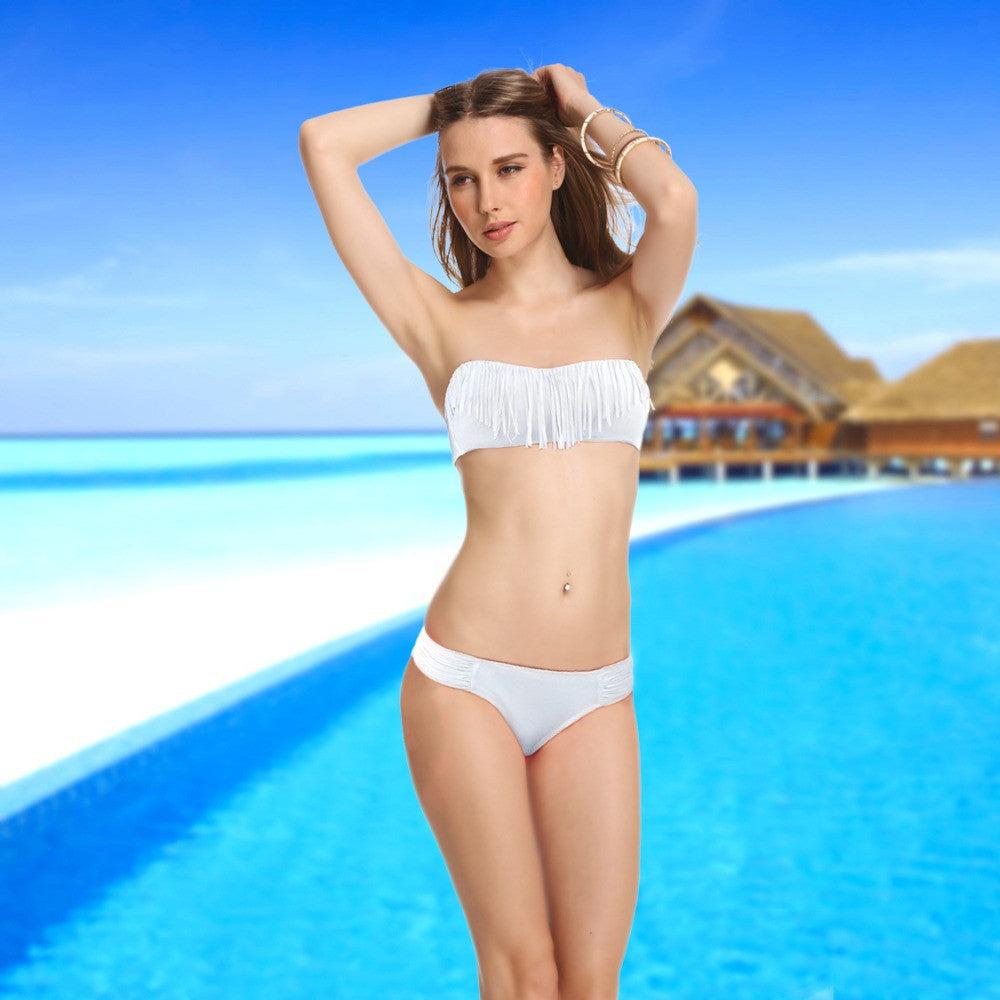 7a343bf1dc28 Hot White Tassel Bikini Bathing Suit | More Stuff I Like