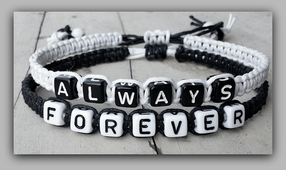 "Couples Bracelets "" Always Forever "" Bracelet His and Hers Boyfriend Girlfriend ( Black / White )  ""FREE SHIPPING"" - More Stuff I Like"
