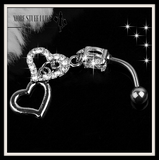 Dangle Double Heart Rhinestone Silver Crystal Belly Button Ring