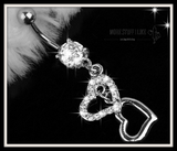 "Dangle Double Heart Rhinestone Silver Crystal Belly Button Ring "" FREE SHIPPING "" - More Stuff I Like"