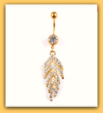 Cutie Leaves Shaped Crystal Rhinestone Belly Button Ring