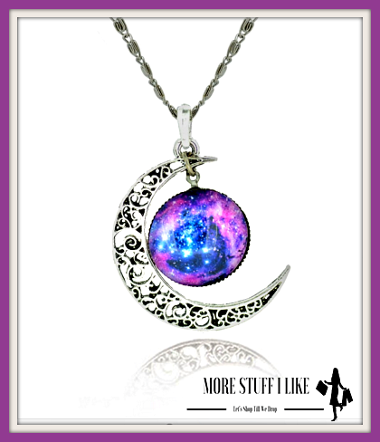 "Sterling Silver Moon Glass Galaxy Necklace & Pendants "" FREE SHIPPING "" - More Stuff I Like"