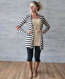 Monochrome Stripe Panel Cardigan Sweater