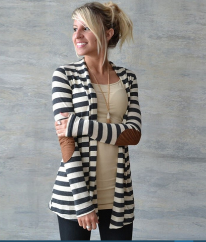 Monochrome Stripe Panel Cardigan ( FREE SHIPPING ) - More Stuff I Like