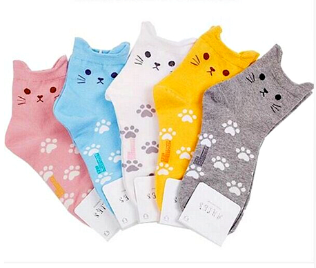 "Cute Candy Color Cartoon Cat Footprints Sock Women's Fashion Cotton Tube Socks "" FREE SHIPPING "" - More Stuff I Like"