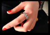 Elegant Queen Temperament Silver Crown Clear Crystals Lady Rings