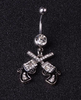 Double Gun Crystal Dangle Belly Button Rings