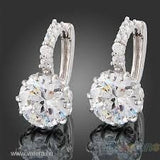 "New Women's 18k White Clear Swarovski Crystal Zircon Cz Earrings "" FREE SHIPPING "" - More Stuff I Like"