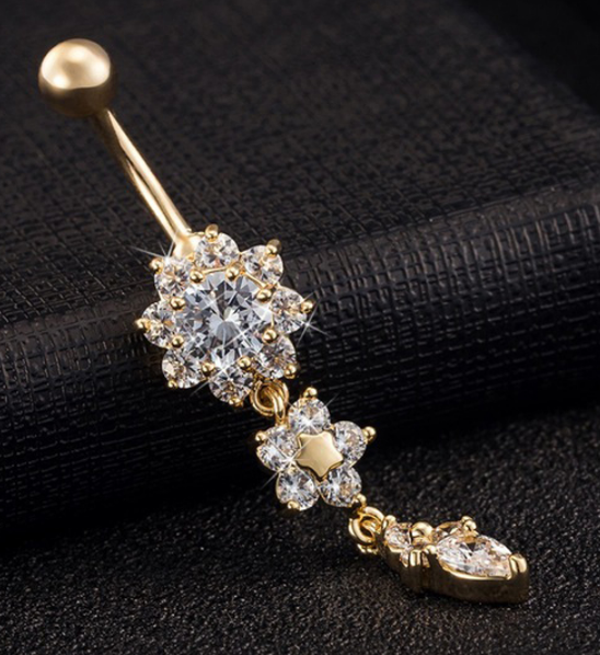 crystal rings ring dangle more belly flower shipping products navel free gold button beautiful