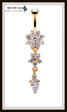 "Beautiful Crystal Flower Dangle Gold Navel Belly Button Ring "" FREE SHIPPING "" - More Stuff I Like"