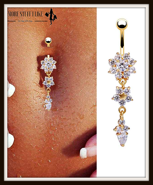 Beautiful Crystal Flower Dangle Gold Navel Belly Button Ring More