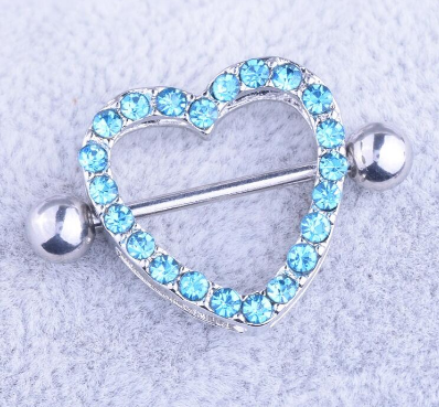 2 pcs. Set Nipple Rings Clear Gems Heart Two Layers Body Piercing