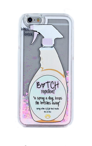 "NEWEST GLITTER HEART GO AWAY BITCH REPELLENT SPRAY LIQUID QUICKSAND CASE FOR IPHONE 4 4S 5 5S SE 6 / 6S 6S PLUS "" FREE SHIPPING "" - More Stuff I Like"