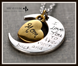 I Love You to the Moon and Back Necklace with Moon Heart Pendant ( FREE SHIPPING ) - More Stuff I Like
