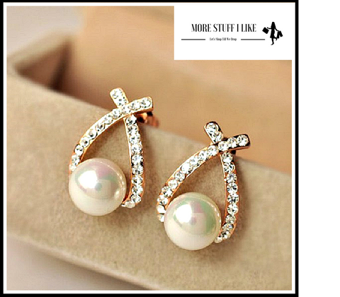 "Pair of Gorgeous Faux Pearl Embellished Diamante Cross Design Earrings "" FREE SHIPPING "" - More Stuff I Like"