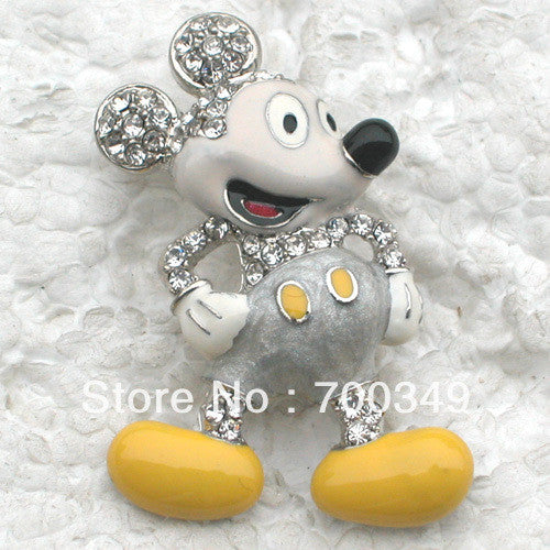 Wholesale 12piece/lot Clear Crystal Rhinestone Enamel Pin Brooch Mickey Mouse Fashion brooches Jewelry gift C501 A