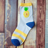 Novel Food Fruit Sweet Series avocado Cute Cotton Kawaii Child's face Pattern Long Socks